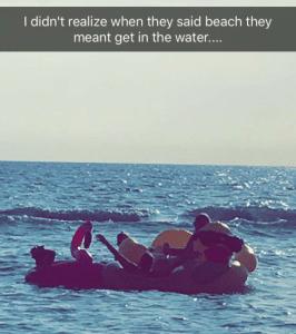 friends on a raft